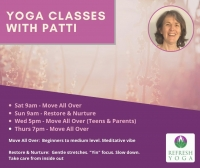 Move all over Yoga with Patti Thursdays 7pm Level 1/2